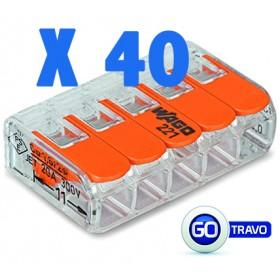 WAGO Wago quintuple pour fil souple ou rigide x 40 221415 40