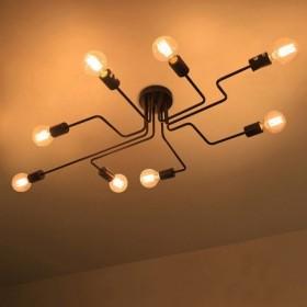 GOTRAVO Suspension ou applique murale effet industriel NOIR en 4, 6, 8 départs Ampoules 32716885053