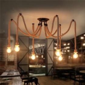 GOTRAVO Suspension corde Vintage Rétro Industriel Araignée Loft avec 4, 6, 8, 10, 12 32853257880