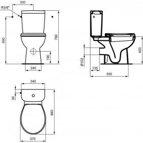 Porcher Pack WC HERCULE SH avec abattant standard, blanc Réf. E300601 E300601