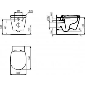 IDEAL STANDARD Pack WC suspendu CONNECT 55 x 36,5 cm, sans brides, avec abattant frein de chute E819101
