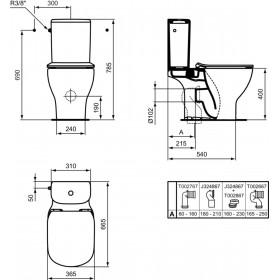 IDEAL STANDARD Pack wc sur pied Tesi Aquablade sortie horizontale abattant ultrafin frein de ch T033601