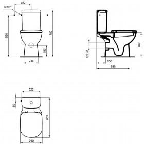 IDEAL STANDARD Pack WC KHEOPS +, Prêt à poser avec abattant, Sortie horizontale, blanc T330401