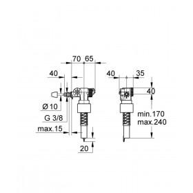 SIAMP Robinet flotteur alimentation latérale, silencieux DAL-LY réf. 37095000 37095000