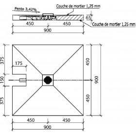 WEDI Receveur de douche de plain-pied à écoulement centré à carreler 0.9X0.9 WEDI 073735600