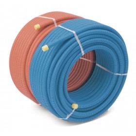 rehau Chauffage Tube PER prégainé D25 bleu 25mètres (gaine annelée ICT PP) RAU PER Réf 126055110 12605511025