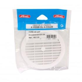 NICOLL Grille d'aération pour tube fibres-ciment - 1BC110 - polystyrène blanc - diamètre 123/9 1BC110