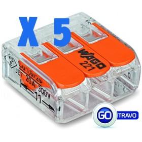 WAGO Wago triple pour fil souple ou rigide x 5 221413 5