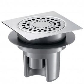 DELABIE Siphon de sol 150x150 à hauteur réglable jusqu'à 85mm grille inox corps PVC Réf 683001