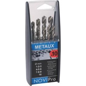 NOVIPRO Coffret 10 forets métaux cylindriques pour perceuse 718F
