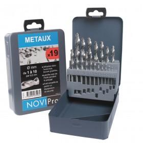 NOVIPRO Coffret métal 19 forets meulés diamètre 1 à 10mm par 1/2 NOVIPro 745F