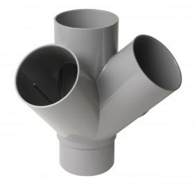 NICOLL Culotte double équerre 45° MF PVC pour tube d'évacuation gris - diamètre 100 et nbspmmb NICOLL AT14