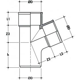 NICOLL Culotte et embranchement simple Femelle femelle à 67°30 - BJ166 - PVC gris - diamètre 50 mm NICOLL BJ166