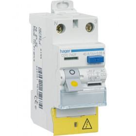 HAGER Interrupteur Différentiel Phase / Neutre 40A 30mA AC borne décalées CDC742F