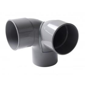 NICOLL Coude double 87°30 MF PVC équerre gris - diamètre 100 et nbspmm NICOLL CET8