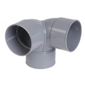 NICOLL Coude double Femelle femelle 87°30 PVC équerre gris - diamètre 100 mm NICOLL CET88