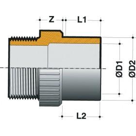 NICOLL Embout femelle fileté 1 - E2526F - PVC anthracite - diamètre 25/32 mm NICOLL E2526F