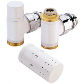 Kit robinet radiateur thermostatique design blanc ALTERNA. équerre 15 x 21 KIT1TH