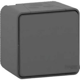 SCHNEIDER Bouton poussoir - saillie - IP55 - IK08 - connexion auto - gris Mureva Styl MUR35026