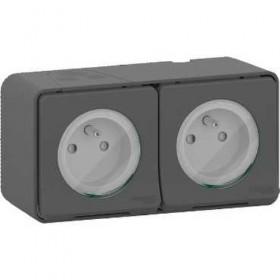 SCHNEIDER Double prise 2P+T précâblée horiz - saillie - IP55 - IK08 - gris Mureva Styl MUR36028