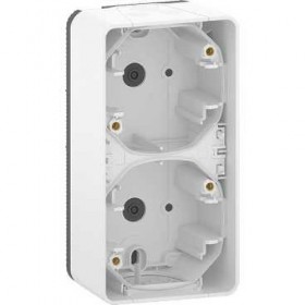 SCHNEIDER Boîte 2 postes verticale - saillie - IP55 - IK08 - blanc Mureva Styl MUR39912
