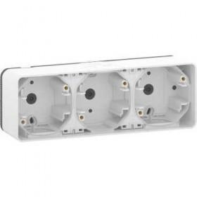 SCHNEIDER Boîte 3 postes horizontale - saillie - IP55 - IK08 - blanc Mureva Styl MUR39913