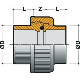 NICOLL Union 3 pièces femelle-femelle - N32F - PVC anthracite - diamètre 32 mm NICOLL N32F