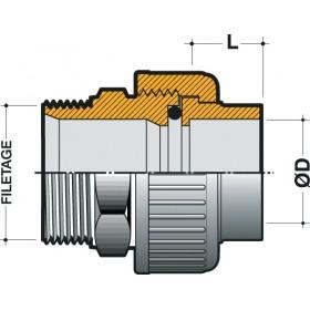 NICOLL Manchon union d'adaptation métal plastique femelle à coller diamètre 40mm fileté NICOLL N4033M