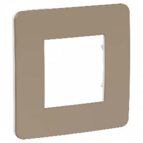 SCHNEIDER 1 poste Taupe liseré Blanc Unica Studio Color plaque de finition NU280226 NU280226