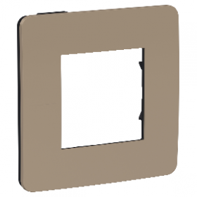 SCHNEIDER 1 poste Taupe liseré Anthracite Unica Studio Color plaque de finition NU280228 NU280228