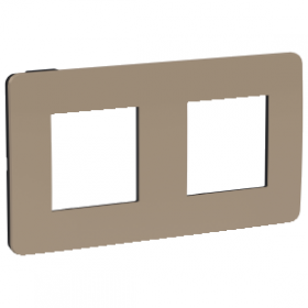 SCHNEIDER 2 Postes Taupe liseré Anthracite Unica Studio Color plaque de finition NU280428 NU280428