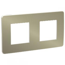 SCHNEIDER 2 Postes Bronze liseré Blanc Unica Studio Métal plaque de finition NU280450 NU280450