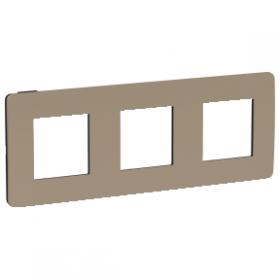 SCHNEIDER 3 Postes Taupe liseré Anthracite Unica Studio Color plaque de finition NU280628 NU280628