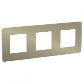 SCHNEIDER 3 Postes Bronze liseré Blanc Unica Studio Métal plaque de finition NU280650 NU280650
