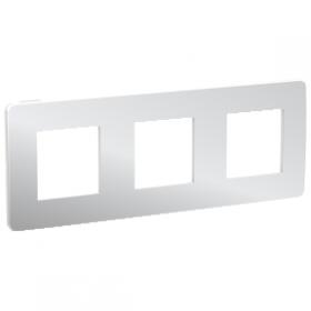 SCHNEIDER 3 Postes Aluminium liseré Blanc Unica Studio Métal plaque de finition NU280655 NU280655