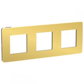 SCHNEIDER 3 Postes Or liseré Anthracite Unica Studio Métal plaque de finition NU280662 NU280662