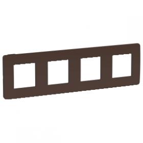 SCHNEIDER 4 Postes Chocolat liseré Anthracite Unica Studio Color plaque NU280817 NU280817