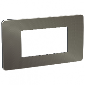 SCHNEIDER 4 Modules Black aluminium liseré Blanc Unica Studio Métal plaque NU281453 NU281453