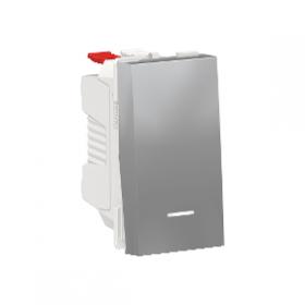 SCHNEIDER Poussoir lumineux 10A Unica Alu 1 module Connexion Automatique NU310630N NU310630N