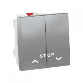 SCHNEIDER Commande Poussoir Double volet-roulant + STOP Unica Alu Auto NU323730 NU323730