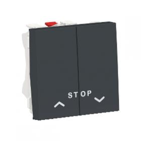 SCHNEIDER Commande Poussoir Double volet-roulant + STOP Unica Anthracite Auto NU323754 NU323754
