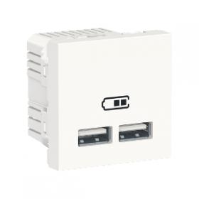 SCHNEIDER Prise chargeur USB double 5Vcc 1A + 2,1A Unica Blanc NU341818 NU341818