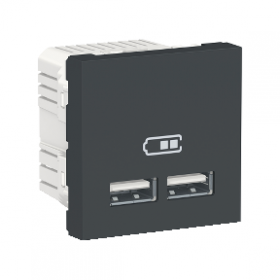 SCHNEIDER Prise chargeur USB double 5Vcc 1A + 2,1A Unica Anthracite NU341854 NU341854