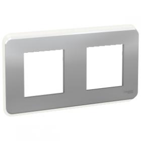 SCHNEIDER 2 Postes Alu Unica Pro plaque de finition NU400430 NU400430