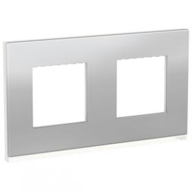 SCHNEIDER 2 postes Aluminium liseré Blanc Unica Pure plaque de finition NU600480 NU600480