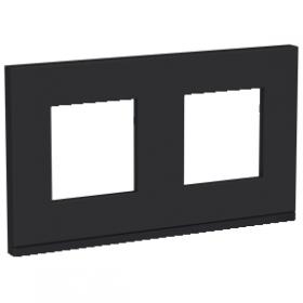 SCHNEIDER 2 Postes Gomme noire liseré Anthracite Unica Pure plaque de finition NU600482 NU600482
