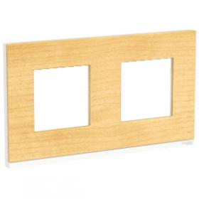 SCHNEIDER 2 Postes Bois nordique liseré Blanc Unica Pure plaque de finition NU600483 NU600483
