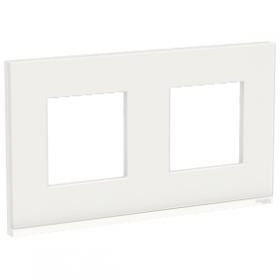 SCHNEIDER 2 postes Givre blanc liseré Blanc Unica Pure plaque de finition NU600485 NU600485