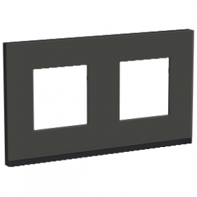 SCHNEIDER 2 postes Givre noir Unica Pure plaque de finition NU600486 NU600486