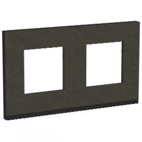 SCHNEIDER 2 Postes Ardoise liseré Anthracite Unica Pure plaque de finition NU600487 NU600487